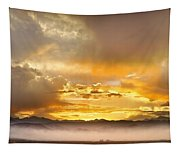 Boulder Colorado Flagstaff Fire Sunset View Tapestry