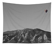 Boulder Colorado Flatirons Hot Air Balloon View Bw Tapestry