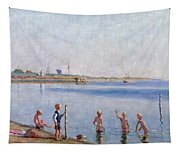 Boys At Water's Edge Tapestry