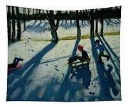 Boys Sledging Tapestry