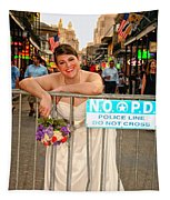 Bride And The Barricade On Bourbon Street Tapestry
