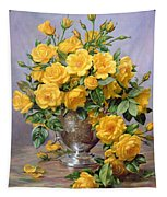Bright Smile - Roses In A Silver Vase Tapestry