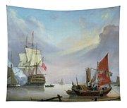 British Man-o'-war Off The Coast Tapestry