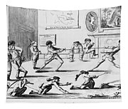 British Officers: Cartoon. English Cartoon Satire, 1777, On The Want Of Training Of British Officers To Prepare Them For The American War Tapestry