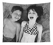 Brother And Sister On Beach Tapestry