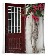 Brown Door In Greece Tapestry