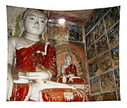 Buddha Image In Po Win Taung Caves. Tapestry