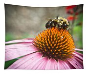 Bumble Bee Feeding On A Coneflower Tapestry