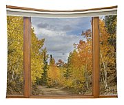 Burning Autumn Aspens Back Country Colorado Window View Tapestry