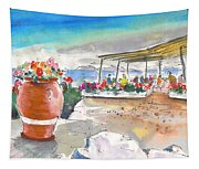 Cafe On Agios Georgios Beach Tapestry
