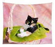 Calico Kitty In Basket Tapestry