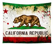 California Grunge Style Flag Tapestry