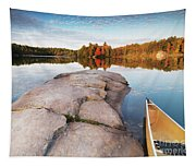 Canoe At A Rocky Shore Autumn Nature Scenery Tapestry