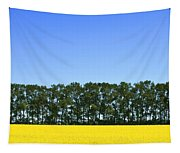 Canola Field And Trees Tapestry