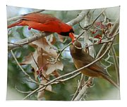 Cardinal Kisses Tapestry
