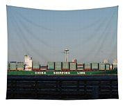 Cargo Ship In Seattle Tapestry