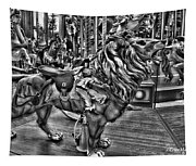 Carousel  Black And White Tapestry