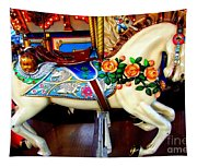 Carousel Horse With Roses Tapestry