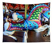 Carousel Horse With Sea Motif Tapestry