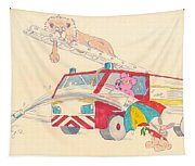 Cartoon Fire Engine And Animals Tapestry