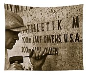 Carving The Name Of Jesse Owens Into The Champions Plinth At The 1936 Summer Olympics In Berlin Tapestry