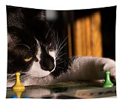 Cat Playing A Game Tapestry