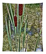 Cattails Along The Pond Tapestry