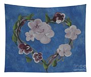 Cherry Blossom Heart Tapestry