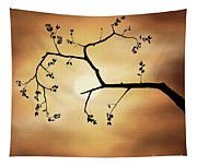 Cherry Blossom Over Dramatic Sky Tapestry
