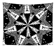 Children Animals Kaleidoscope Black And White Tapestry
