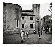 Children At Play In A Venice Piazza Tapestry