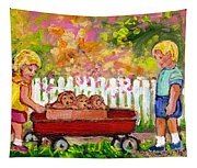 Chilrens Art-boy And Girl With Wagon And Puppies Tapestry