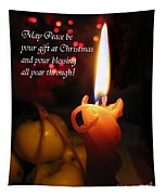 Christmas Candle Peace Greeting  Tapestry