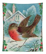 Christmas Card Depicting A Robin  Tapestry