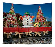 Christmas Snowman On Rails Tapestry