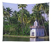 Church Located On A Coastal Lagoon In Kerala In India Tapestry
