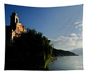 Church On The Lake Front Tapestry