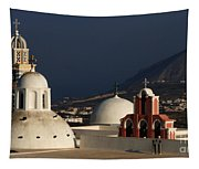 Churches In Fira Greece Tapestry