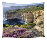 Cliffs Along Ocean With Wildflowers Tapestry