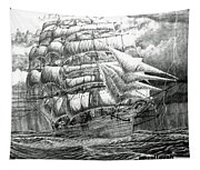 Clipper In The Storm Filtered Tapestry