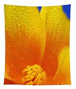 Close Up Of A Poppy With Dew On The Tapestry