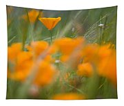 Close Up Of Orange Poppy Flowers Tapestry