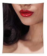 Closeup Of Woman Red Lips Tapestry
