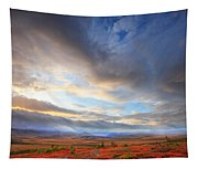 Clouds At Sunrise At The Arctic Circle Tapestry