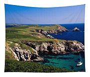 Coastal Cliffs And Seascape With Boat Tapestry