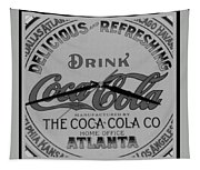 Coca Cola Clock In Black And White Tapestry