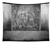 Collage Misty Trees Tapestry