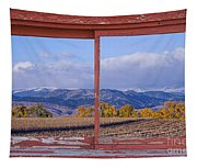 Colorado Country Red Rustic Picture Window Frame Photo Art Tapestry