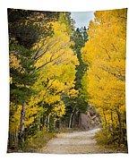 Colorado Rocky Mountain Aspen Road Portrait  Tapestry
