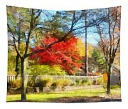 Colorful Autumn Street Tapestry